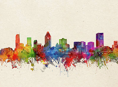 Abstract Skyline Royalty-Free and Rights-Managed Images - Montreal Skyline Watercolor by Bekim M