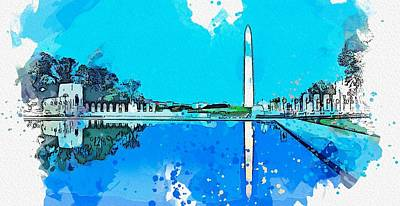 Royalty-Free and Rights-Managed Images - Monument Park, DC watercolor by Ahmet Asar by Ahmet Asar