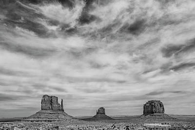 Photograph - Monument Valley In Black And White by Denise Bush