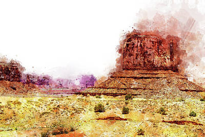 Painting - Monument Valley - Watercolor 06 by Andrea Mazzocchetti