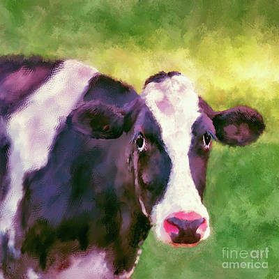 Digital Art - Moo Cow by Lois Bryan