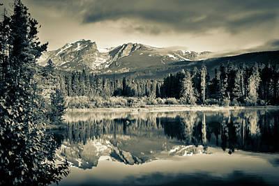 Photograph - Moody Rocky Mountain Landscape At Sprague Lake - Rmnp Sepia by Gregory Ballos