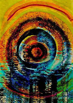 Mixed Media - Moon Abstract by Jolanta Anna Karolska