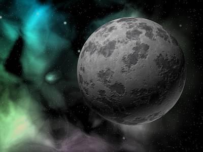 Photograph - Moon And Great Nebula by Angelhell