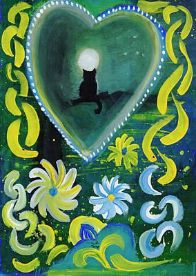 Painting - Moon Cat Ornament by Dobrotsvet Art