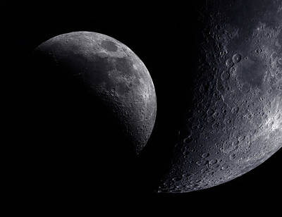 Photograph - Moon Disc Crescent And Closeup Of The by Malcolm Park