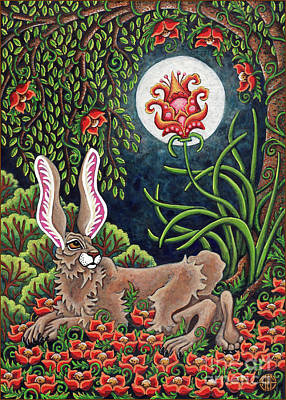 Painting - Moon Gazing Hare 2 by Amy E Fraser