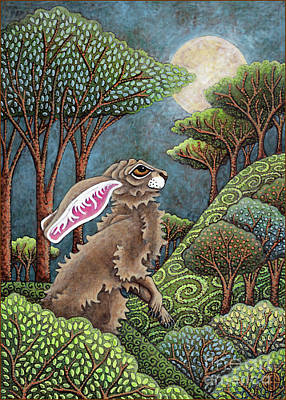 Painting - Moon Gazing Hare 4 by Amy E Fraser