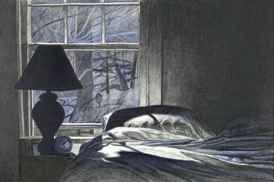 Drawing - Moon Light On Our Bed by Lynn Hansen