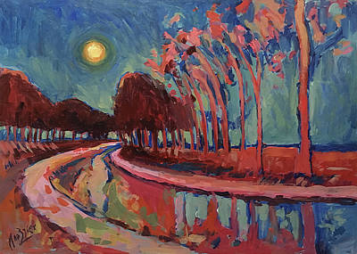 Moon Night At The Canal Art Print