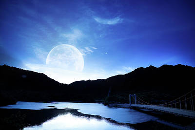 Photograph - Moon Over Lake by Laoshi