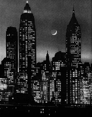 Cityscapes Photograph - Moon Over Manhattan by Andreas Feininger