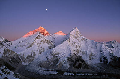 Scenery Photograph - Moon Over Summit Of Mount Everest by Grant Dixon/ Hedgehog House/ Minden Pictures