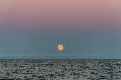 Photograph - Moon Rise On Lake Michgan by Sven Brogren
