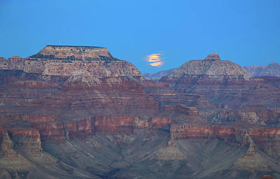 Photograph - Moon Rising Over The Grand Canyon by Dawn Richards