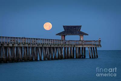 Photograph - Moon-set Over Naples Pier by Brian Jannsen