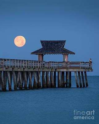 Photograph - Moon-set Over Naples Pier II by Brian Jannsen