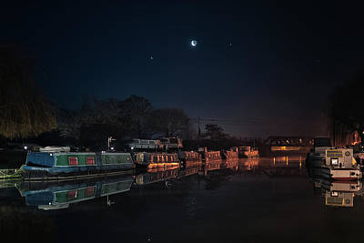 Photograph - Moon, Venus And Jupiter Over Ely Riverside by James Billings