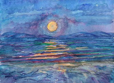 Painting - Moonlight In The Sea Bay by Irina Dobrotsvet