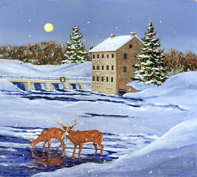 Painting - Moonlight Millpond Whitetails by Richard De Wolfe