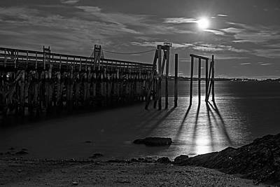Photograph - Moonlight On The Salem Willow Pier Salem Ma Black And White by Toby McGuire