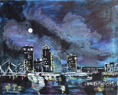 Winter Animals - Moonlight Over Louisville  by Charles M Williams
