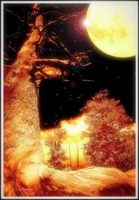 Digital Art - Moonlit Landscape Fantasy, Digital Painting by A Gurmankin