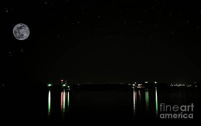 Photograph - Moonlit Medina Lake San Antonio Tx 8364b by Ricardos Creations