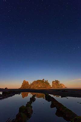 Beach Royalty-Free and Rights-Managed Images - Moonlit Sea Stacks by Brian Knott Photography