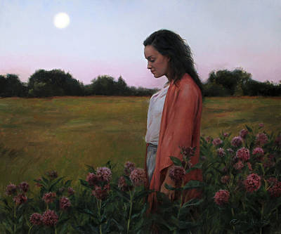 Dusk Wall Art - Painting - Moonrise And Milkweed by Anna Rose Bain