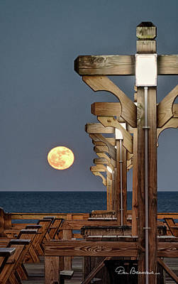 Photograph - Moonrise At Kitty Hawk Pier 2871 by Dan Beauvais
