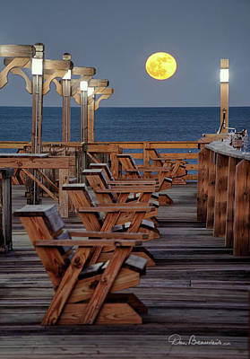 Dan Beauvais Royalty-Free and Rights-Managed Images - Moonrise at Kitty Hawk Pier 3657 by Dan Beauvais