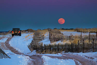 Photograph - Moonrise Cupsogue Outer Beach by Robert Seifert