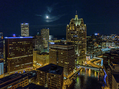Photograph - Moonrise, Milwaukee, Wisconsin by Randy Scherkenbach