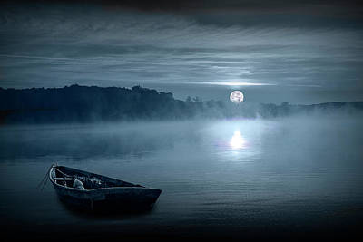 Photograph - Moonrise Over A Lake With Rowboat by Randall Nyhof