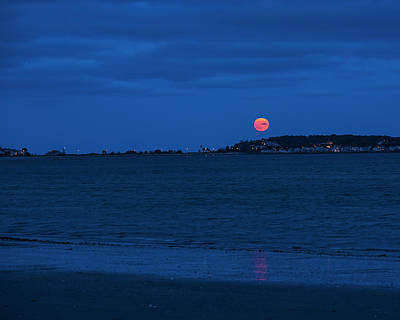 Photograph - Moonrise Over Nahant From Revere Beach Nahant Ma Beach by Toby McGuire