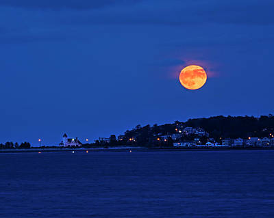 Photograph - Moonrise Over Nahant From Revere Beach Nahant Ma by Toby McGuire