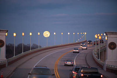 Photograph - Moonrise Over Naval Academy Bridge by Mark Duehmig