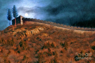 Photograph - Moonrise Over The Great Wall China by Blake Richards