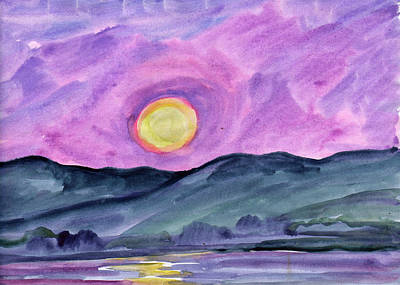 Painting - Moonrise Over The Lake by Dobrotsvet Art