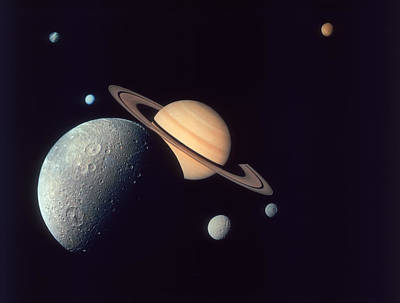 Photograph - Moons Of Saturn by Space Frontiers