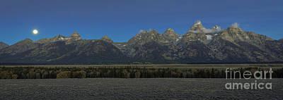 Photograph - Moonset Over Teton Mountain Range by Doug Sturgess