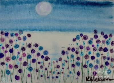 Painting - Moonshadow Flower Field by Kim Nelson