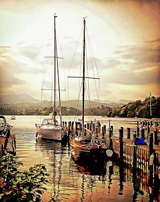 Digital Art - Moored Boats by Pete Hunt