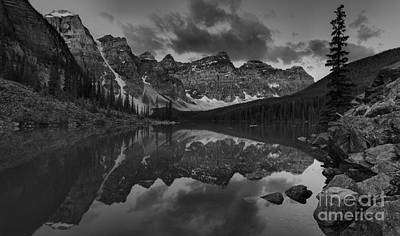 Photograph - Moraine Lake Red Tip Panorama Black An White by Adam Jewell
