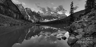 Photograph - Moraine Lake Summer Sunrise Spectacular Black And White by Adam Jewell
