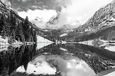 Photograph - Morning At Maroon Bells - Monochrome Landscape by Gregory Ballos
