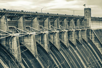 Photograph - Morning At The Table Rock Dam - Branson Missouri In Sepia by Gregory Ballos