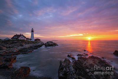 Photograph - Morning Colors At Portland Head Lighthouse  by Michael Ver Sprill