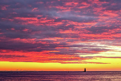 Photograph - Morning Fire Over Whaleback Light by Jeff Sinon